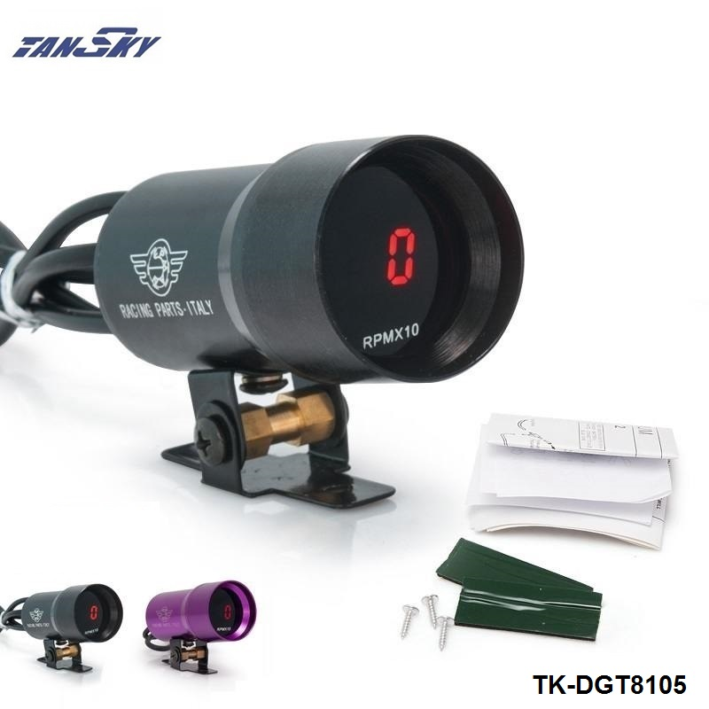 TANSKY 37mm Smoke Tach RPM Tachometer Red Digital Shift Light Style Gauge Meter Pod Black,Purple For Ford Focus 98-12 TK-DGT8105