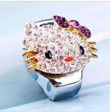 10 pcs/lot lovely hello Kitty Rhinestone ring finger watches jewelry design Steel wheel elastic quartz Wristwatches