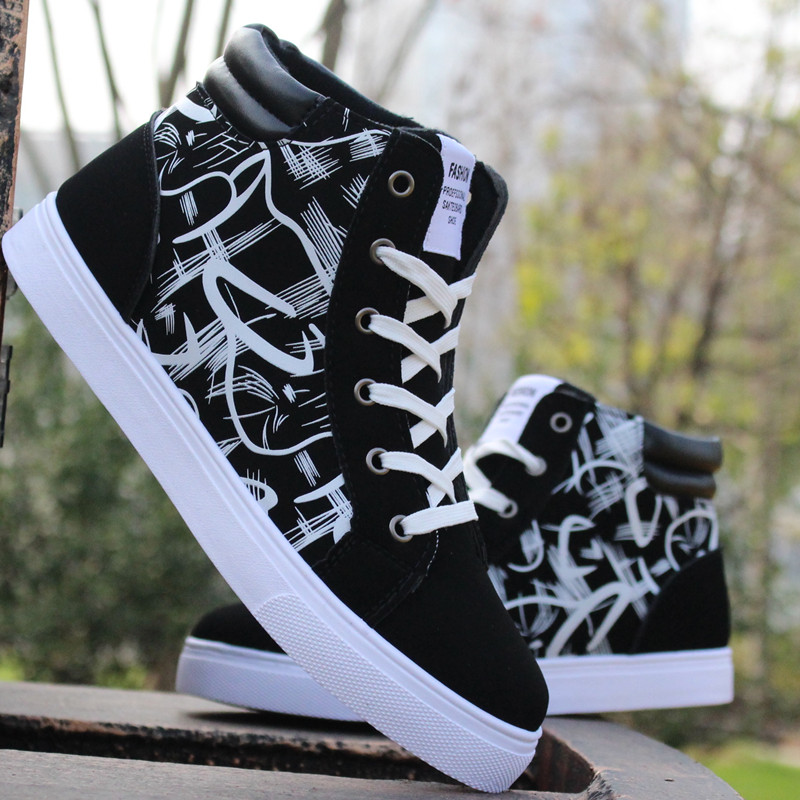 Brand Designer Men Shoes High Top Casual Shoes Printed Lace Up Trainers Male Hip Hop Shoes Zapatillas Deportivas Hombre XK032012<br>