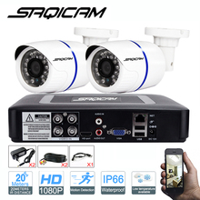 Saqicam Security Camera System 4CH 1080N AHDH DVR 2PCS 1080P Day Night Vision IR Waterproof Outdoor CCTV Camera Surveillance Kit