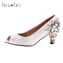 CHS266 DHL Express Custom Handmade Peep Toe Low Heel Crysta White Lace Bridal Wedding Shoes Big Size Women Shoes Dress Pumps