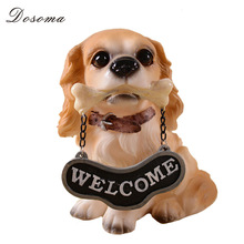 Mini Resin Welcome Dog Figurines Dining Room Miniature Resin Doll Hotel Public Desk Ornaments Wedding Decoration Accessories