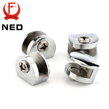 4PCS NED Half Round Glass Clamps Zinc Alloy Shelves Support Corner Brackets Clips For 8mm Thick Furniture Hardware(China)