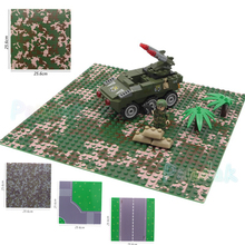 25.6cm Military Camouflage Color Blocks Base Plate SWAT Accessories Building Blocks Model Bricks Toys for children