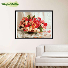 DIY digital oil painting by numbers hand painted for home wall decor flowers 40*50cm christmas decoration(China)
