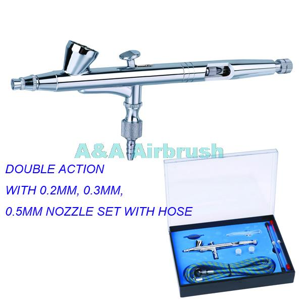 207K PROFESSIONAL DOUBLE ACTION AIRBRUSH GUN KIT WITH 0.2MM, 0.3MM, 0.5MM NOZZLE SET WITH HOSE<br>