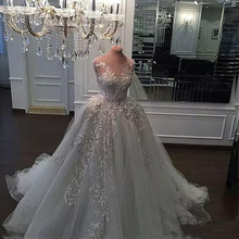Real Photos Bridal Dresses New Luxury Crystal Zuhair Murad Wedding Dresses Ball Gown Lace Sheer Strap Swarovski Bridal Dresses