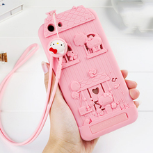 For OPPO A59/OPPO F1S 3D Cute Cartoon Fabitoo Hello Kitty Phone Case Soft Silicone Rubber Back Cover With Lanyard