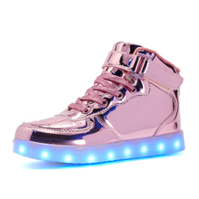 Warm like home 2017 New 25-39 USB Charger Glowing Sneakers Led Children Lighting Shoes Boys Girls illuminated Luminous Sneaker(China)