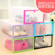 DIY Thick Plastic Shoe Box Storage box Home Organizer Drawer Stackable Foldable Storage Drawer Racks