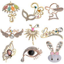 Fashion Charm Women Alloy Inlaid Rhinestones Brooch Cute Animal Rabbit Butterfly Spider Prom or Party Costume Brooch Pins