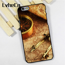 LvheCn phone case cover fit for iPhone 4 4s 5 5s 5c SE 6 6s 7 8 plus X ipod touch 4 5 6 back skins Antique Map Travel Compass(China)