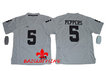 Free Shipping Nike 2016 Heather Gray Michigan Wolverines Jabrill Peppers 5 College Boxing Jerseys - Gridiron Gr(China)