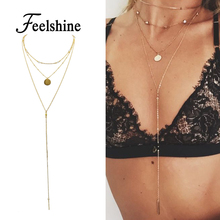 New Body Sex Chain Gold-Color Long Chain MultiLayer Chain Necklace Round Pendant Necklace Bijuteria