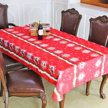 Christmas Santa Claus Tablecloth Red Festivals Household Christmas Decoration Waterproof Table Cover Size 140x140-145x200cm