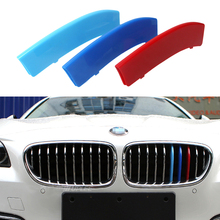 3 color Car Front Grille Reflective sticker Trim Sport Strips Cover Motorsport Stickers for 2014-2015 BMW 5 Series