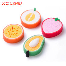 4pcs/set Cartoon Fruit Shaped Sponge Scouring Pad Thickened Kitchen Cleaning Sponge Strong Remove Stains Cleaning Tools(China)