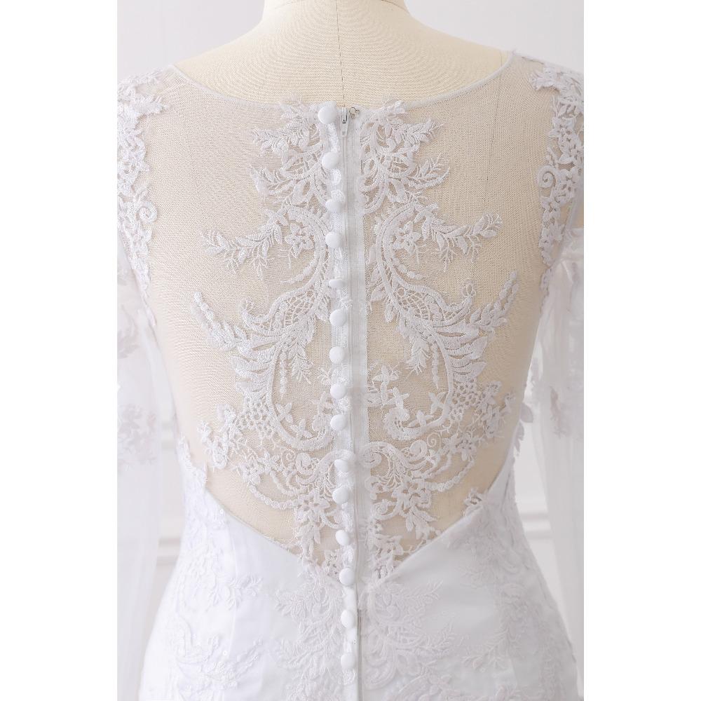Lover Kiss Vestido De Noiva 2017 Elegant Wedding Gowns Bridal Dresses Popular Vintage Mermaid Long Sleeves Lace Wedding Dress 5