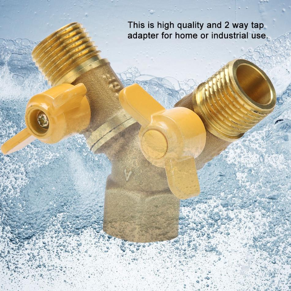 inch Brass tap DCV with Hose Wall Plug Adaptor and Elbow Garden Tap ½ x ¾