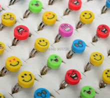 Lots 10pcs Colorful Smile Face Polymer Clay Children Kids Girls Rings Wholesale Fashion Charm Jewelry Drop Free