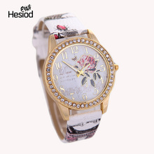 2016 New Fashion Chinese Style Peony Pattern Watch Gilt Digital Quartz Casual Leather Clock Women Dress Cartoon Wristwatch Hot