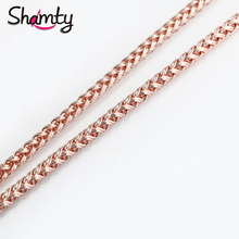 Shamty 6MM Wheat Necklace Mens Womens Link Rose Gold Color Necklace Chain Fashion Chain Unisex Jewelry Nice Gift(China)
