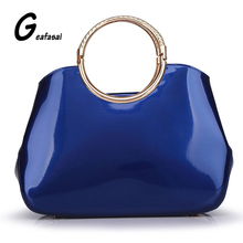 COUPON solid blue white red pink brand Elegant Vintage High Quality patent Leather Women Handbags Totes top metal handle bags(China)