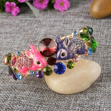 Bella Fashion Colorful Enamel Cute Rabbit Bracelets & Bangles Austrian Crystal Animal Bangle Cuff For Women Cocktail Party Gift(China)