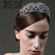 2017 Royal Regal Hot Silver Plated Quinceanera Bridal Tiara Pagent Queen Leaf Classic Rhinestone For Bride Flower Girl(China)