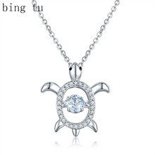Bing Tu CZ Zircon Stone Animal Turtle Pendant Necklace Lovely Woman Silver Color Tortoise Necklaces Sea Jewelry Christmas Gift