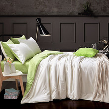 Hot solid color green&white doublesided polyester bedding sets twin full queen king size duvet cover sets 4pcs set home textiles
