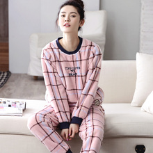 Autumn And Winter Women Pyjamas Sets Thick Warm Coral Velvet Suit Flannel Long Sleeve Female Plaid Pants Sleepwear(China)