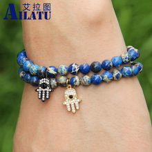 Ailatu Turkish Religious Fatima Hand Women Bracelet 6mm Blue Sea Sediment Imperial Stone with Micro Inlay Zircons Hamsa Pendant(China)