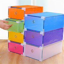 New Arrival 1Pcs House Organizer Transparent Clear Plastic Shoe Boot Box Stackable Foldable Storage Drawer Box 30 X 9cm(China)