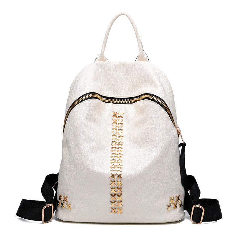 2017 Women Fashion Designer Leather Backpacks Black Mochila Brand Ladies Girls Teenage Backpack Rivet Satchel Female Travel Bag<br>