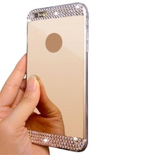 2017 Hot selling fashion Glossy Mirror Diamond Bling Soft TPU Case Cover + HD Film for iPhone 6/6S 4.7inch very well