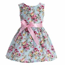 Floral Print Sleeveless Cotton Princess Wedding Little Girls Dress Party ;Flower lemon Children Beach Kid Summer Dress Girl 2017