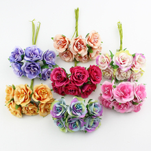 HUADODO 6pcs 3cm silk Rose Artificial Stamen flower Bouquet For Scrapbook Wedding Decorative Wreath DIY craft flowers(China)