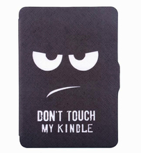 case for Amazon kindle paperwhite 2015 6'' touchscreen ereader 6 smart case cover pu leather case(Don't touch my kindle)