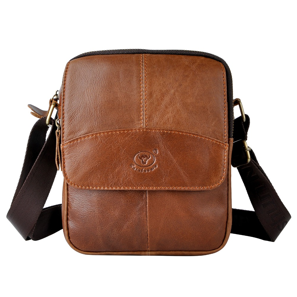 Real Leather Male Fashion Small Messenger bag cowhide Design 8 Crossbody One Shoulder bag Satchel 336<br>