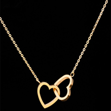 Gorgeous Tale Cross Love Double Heart Necklaces Pendants Gold Color Stainless Steel Choker Necklace Women Collier Femme
