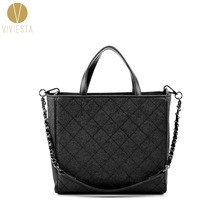 REAL GRAINED LEATHER QUILTED SHOPPING TOTE - 2014 Fall Fashion Women's Famous Brand Quilting Chain Shopper Shoulder Bag Handbag(China)