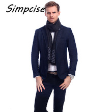 [Simpcise] Man Grid Winter Scarves Fashion style Long Cashmere scarf soft warm Wraps A3A18909(China)