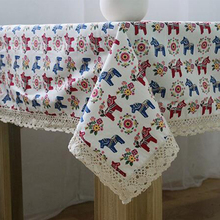 Cute colorful flower horse printed linen & cotton tablecloth dustproof lace rectangular table cloth wedding home table cover(China)
