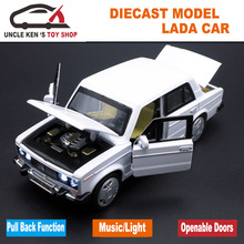 1/32 Diecast Scale Model, Russian Lada Cars Replica, Metal Toy As Boys Gift With Openable Doors/Music/Pull Back Function/Light(China)
