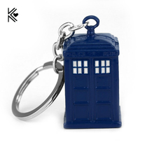 High Quality Doctor Who Blue Enamel TARDIS Police Box Key Chains Ring United Kingdom Movie TV Punk Gothic Keychain Free Shipping(China)