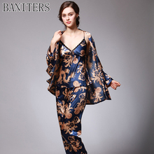 BANITERS 2017 new Chinese style Dragon and phoenix Women pajamas suit sexy bathrobe emulation silk robe luxury sleepwear(China)