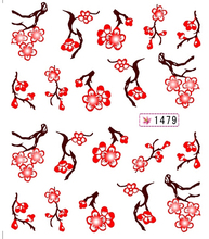 1X  Nail Sticker Elegant Plum flower China Blue Lily Water Transfers Stickers Nail Decals Stickers DISCOUNT D