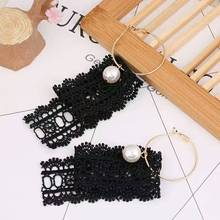 Black White Long Lace Earrings Women Pearl Dangel Earrings Night Club Personality Jewelry Accessories