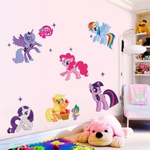 % New arrival Kid Wall Stickers My Little Pony 6 ponies removal wall sticker girl sticker for children room factory direct sales